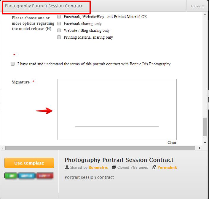 portrait session contract form with e signature jotform