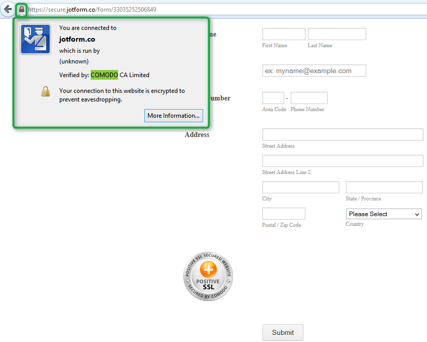 What is the url link for the Comodo Positive SSL seal? | JotForm
