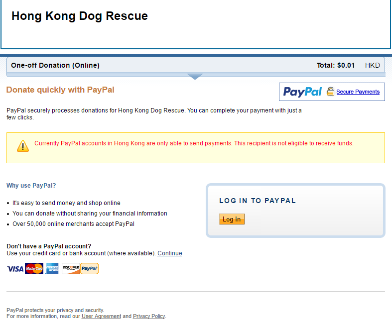Currently PayPal accounts in Hong Kong are only able to send