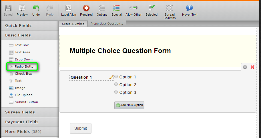 create a multiple choice quiz