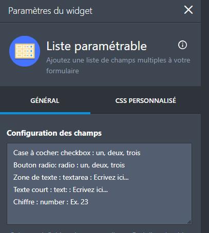 Configurable List - Fields configuration