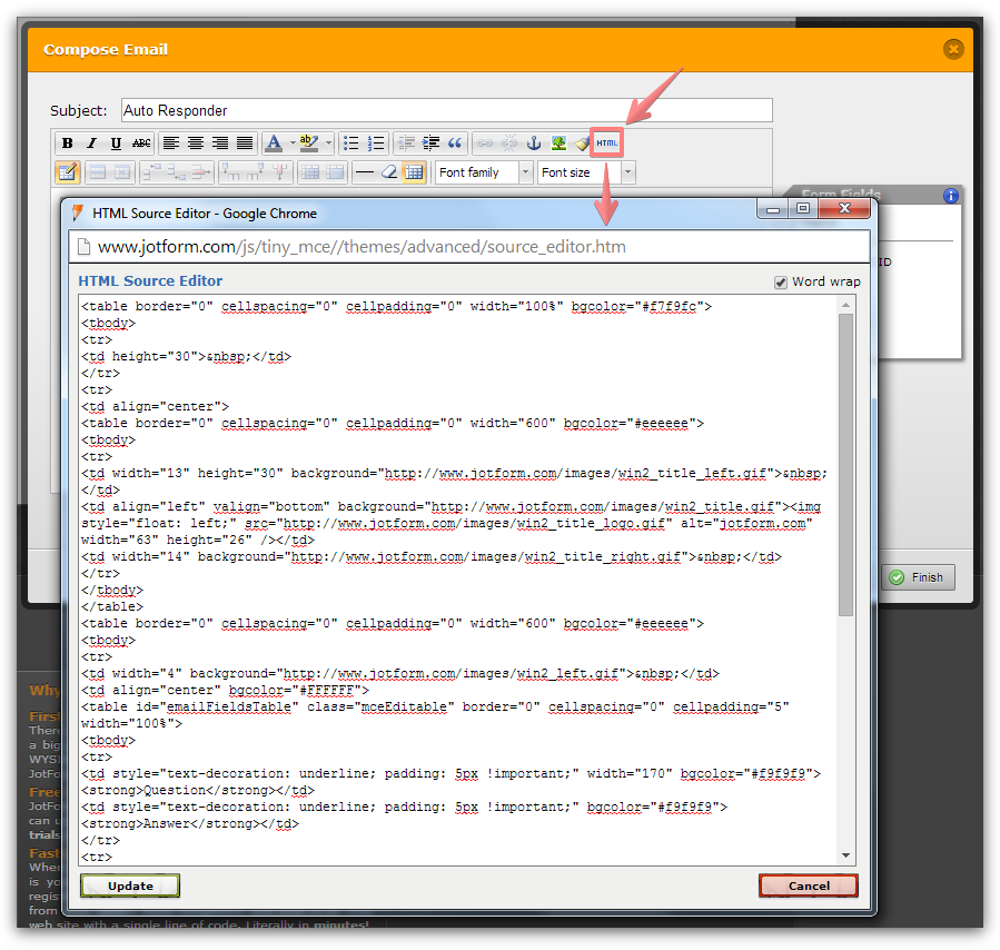 How can i create an autoresponse e mail in jotforms using for Creating an html email template