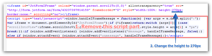 How to remove a scroll bar on a Wix embedded form