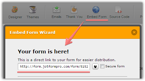 Embed form into email   JotForm