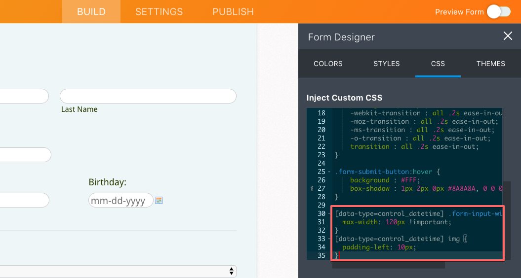 Inject CSS: How do I change the width of a date box to look