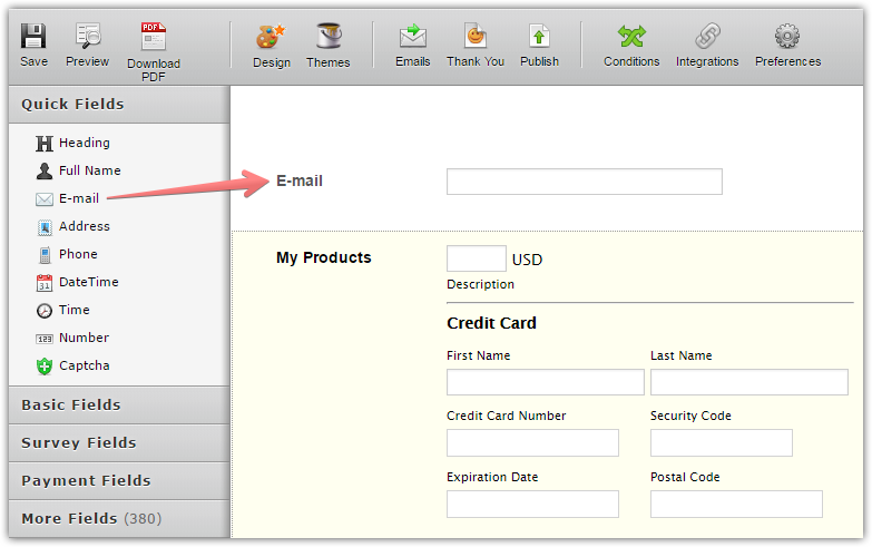 square integration can it email text a receipt to customer jotform
