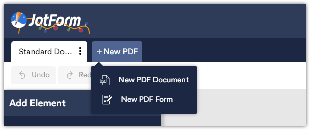 PDF editor shows blank page when I try to create a document