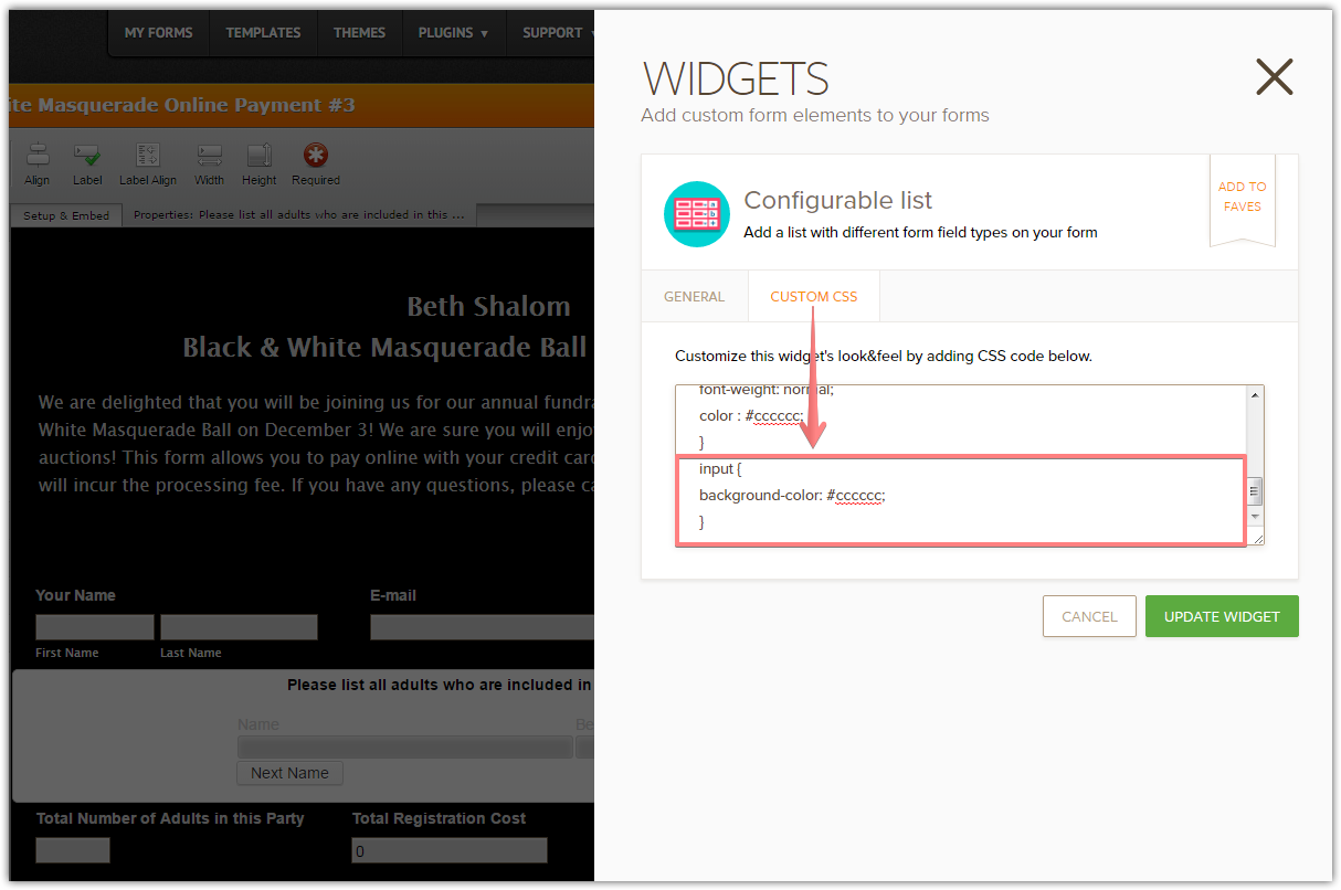How To Change Color Of Input Field Box Of Configurable List Widget