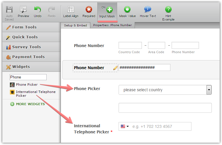 How to add a Country Code input to Phone field JotForm