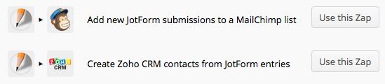 JotForm MailChimp & Zoho