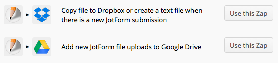 JotForm & Zapier to Dropbox or Google Drive