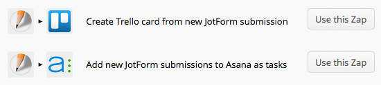 JotForm & Zapier to Trello or Asana