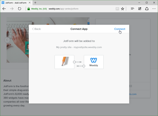 Add JotForm to Weebly