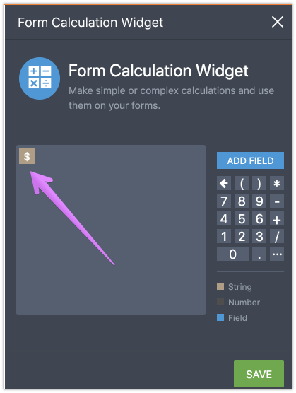 form i-9 widget  How do I get the $ to show in price field?