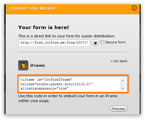 iframe embedded form is covered by other page elements when