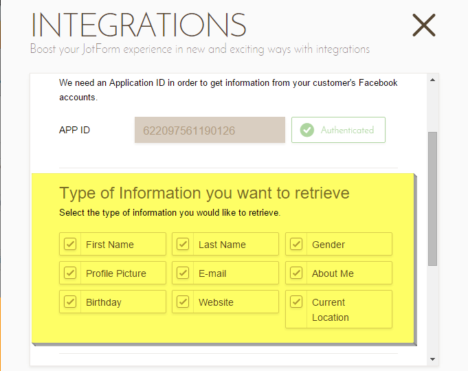 ... your form to Facebook to collect profile information (Fit Forms