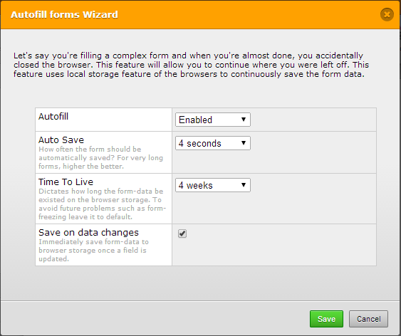 How can I enable users to save draft form and return to finish later