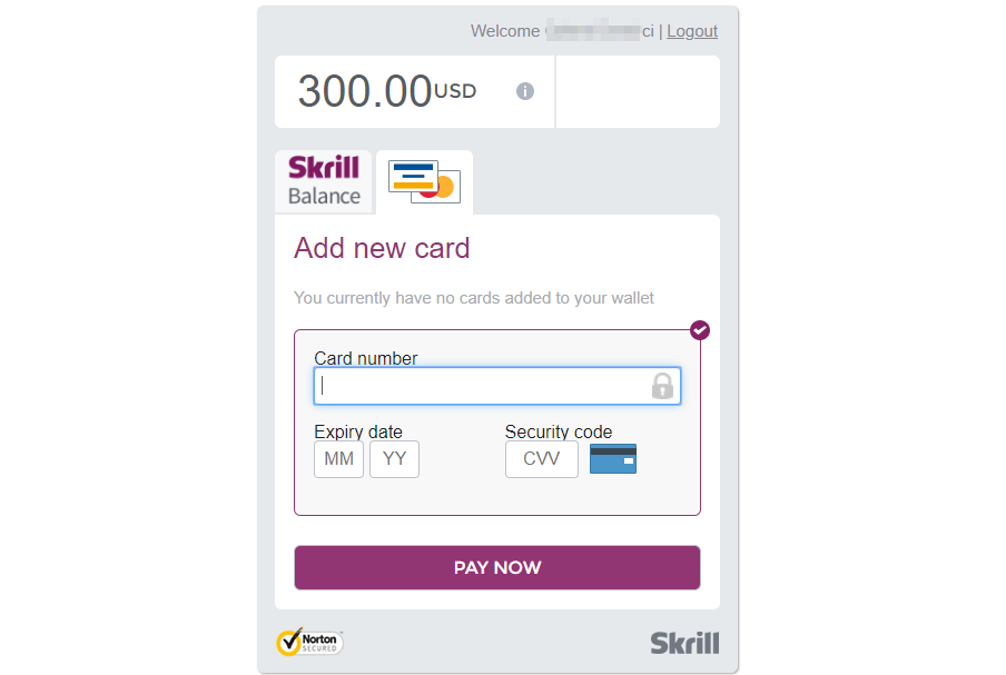 Skrill Payment Button