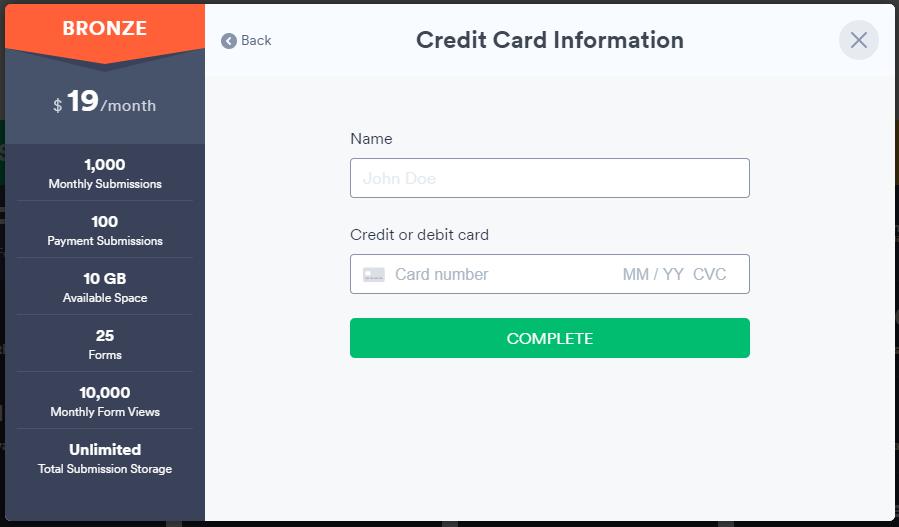 Credit/Debit Card option